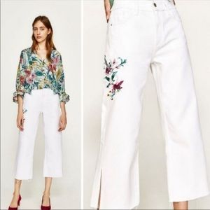 Zara |  White Floral Embroidered Wide Leg Jean's 2